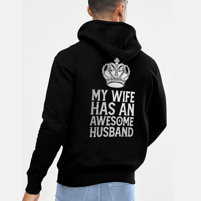 My Wife Has An Awesome Husband My Husband Has An AweSome Wife Crown Couple Hoodie,Kangaroo Pocket