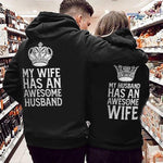 Load image into Gallery viewer, My Wife Has An Awesome Husband My Husband Has An AweSome Wife Crown Couple Hoodie,Kangaroo Pocket