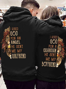 I Asked God For An Angel He Sent Me My Boyfriend/Girlfriend Couple Hoodie Kangaroo Pocket