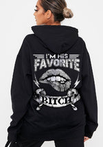 Load image into Gallery viewer, I Am Her Favorite Asshole/I Am His Favorite Bitch Skull&Lip Printing Couple Hoodie, Kangaroo Pocket