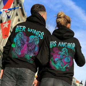 His Anchor Her Wings Couple Hoodie,Kangaroo Pocket