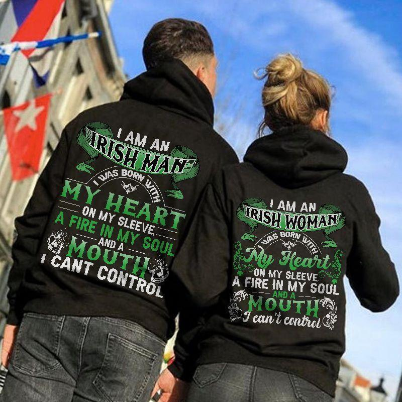 I Am An Irish Man/I Am An Irish Woman Couple Hoodie,Kangaroo Pocket