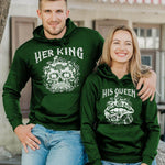 Load image into Gallery viewer, Her King His Queen Skull&Lip Printing Couple Hoodie, Kangaroo Pocket