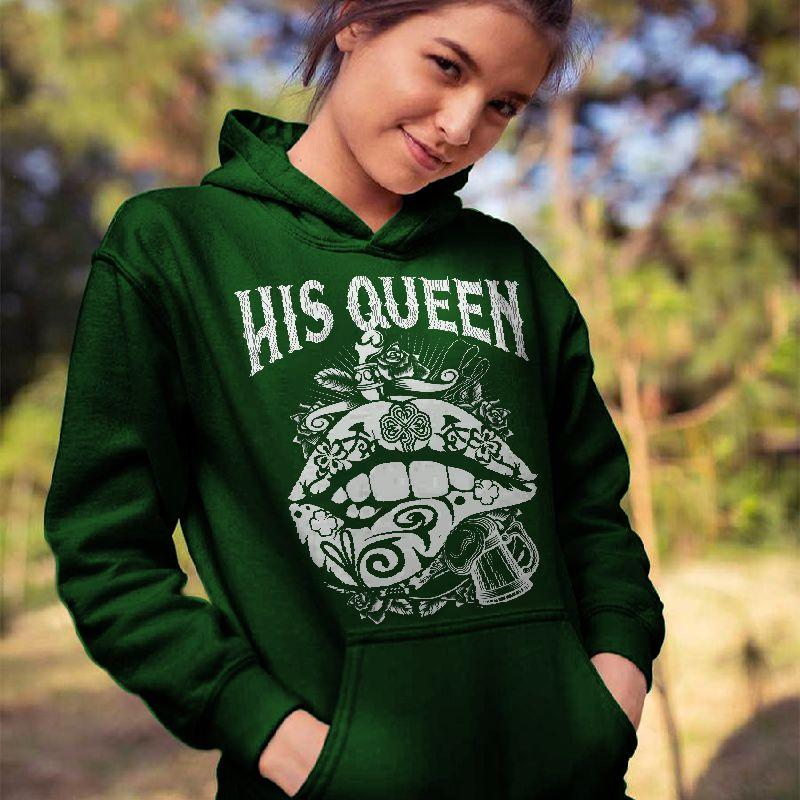 Her King His Queen Skull&Lip Printing Couple Hoodie, Kangaroo Pocket