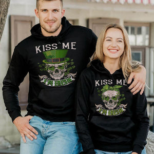 Kiss Me I'm Irish Skull Printing Couple Hoodie,Kangaroo Pocket