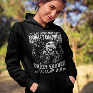 Touch Enough To Be A Bitch's Boyfriend/Touch Enough To Be An Asshole's Girlfriend Skull Printing Couple Hoodie,Kangaroo Pocket