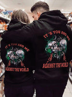Load image into Gallery viewer, It's You And Me Against The World Skull Printing Couple Hoodie,Kangaroo Pocket