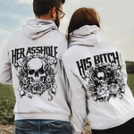 Load image into Gallery viewer, Her Asshole His Bitch Skull Couple Hoodie,Kangaroo Pocket