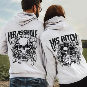 Her Asshole His Bitch Skull Couple Hoodie,Kangaroo Pocket
