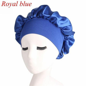 1PC Women Wide Band Satin silk Bonnet Cap Comfortable Night Sleep Cap Ladies