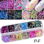 Load image into Gallery viewer, 1 Set Mixed Color 3D Ultrathin Sequins Nail Glitter Flakes 1/2/3mm Sparkly DIY Tips Dazzling