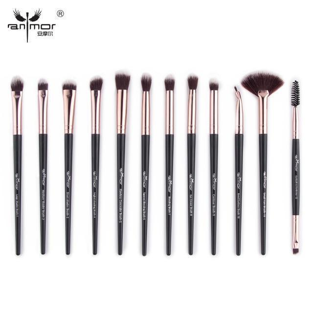Anmor Pro Makeup Brushes Set 12 pcs/lot Eye Shadow Blending Eyeliner Eyelash Eyebrow Brushes