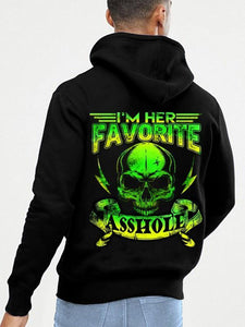 I Am Her Favorite Asshole/I Am His Favorite Bitch Skull&Lip Printing Couple Hoodie, Kangaroo Pocket