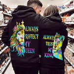 Load image into Gallery viewer, Always Protect My Queen/Always Trust My King Lion Couple Hoodie,Kangaroo Pocket