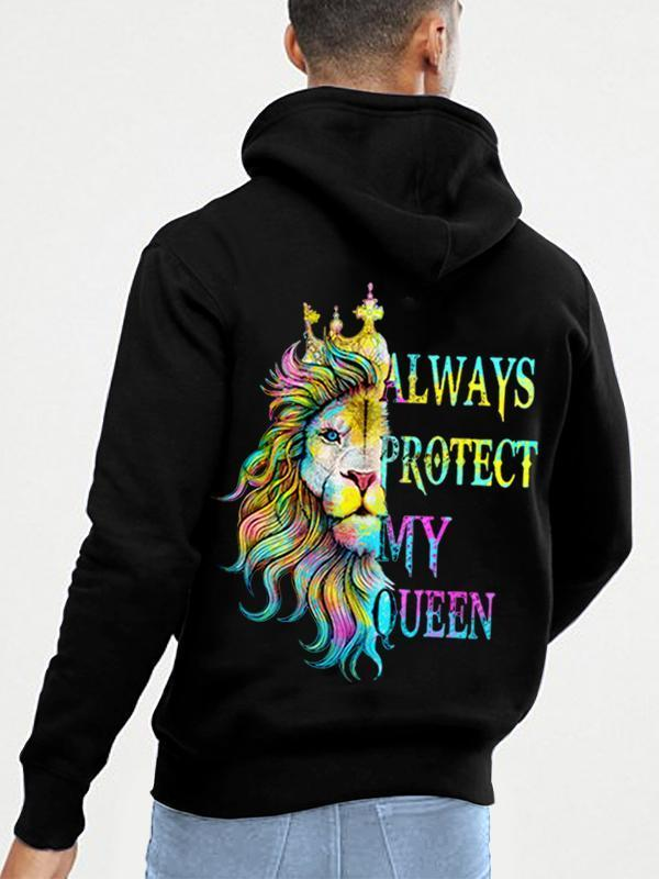 Always Protect My Queen/Always Trust My King Lion Couple Hoodie,Kangaroo Pocket