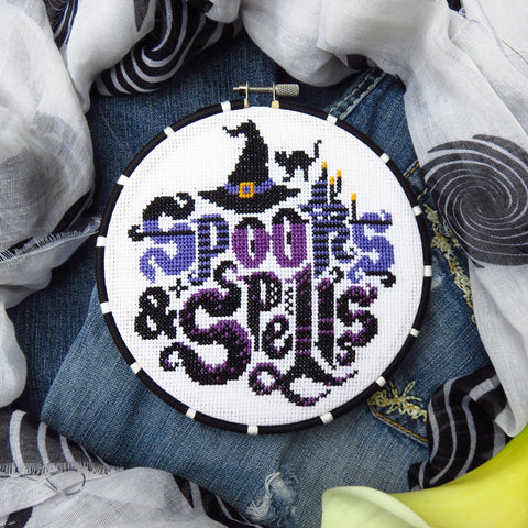 Spooks and spells cross stitch pattern by LuckyStarStitches
