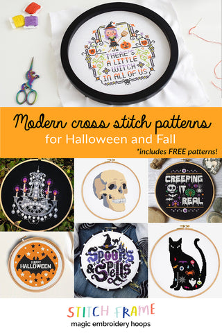 Modern cross stitch patterns for Halloween and Fall