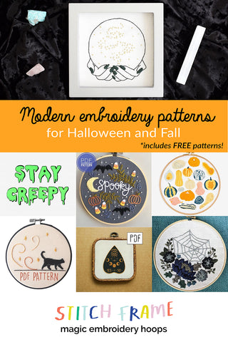 Modern embroidery patterns for Fall and Halloween by Stitch Frame