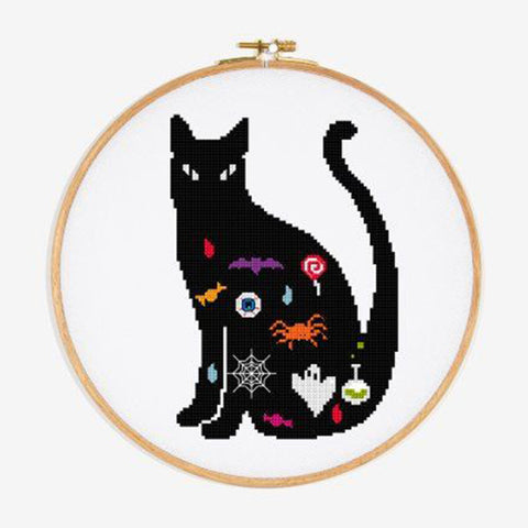 FREE black cat cross stitch pattern by DMC