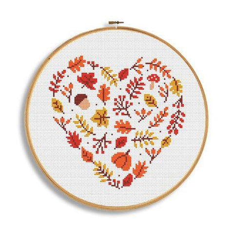 Fall leaves heart cross stitch pattern by CrossWithMe