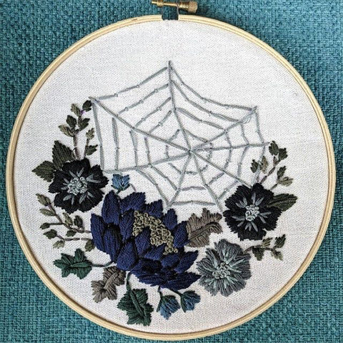 Gothic florals and spider web embroidery pattern by Floralsandfloss