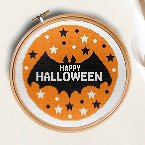 Happy Halloween bat cross stitch pattern by TheStitchPatterns