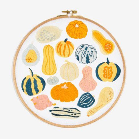 Pumpkin and squashes free embroidery pattern by DMC