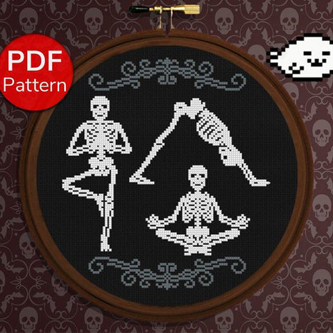 Yoga skeletons cross stitch pattern by HarperSealCrossStitch
