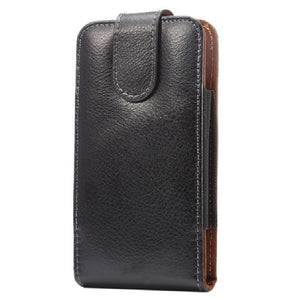 Magnetic Genuine Leather Holster Executive Case belt Clip Rotary 360 for MYPHONE FUN 6 (2020) - Black