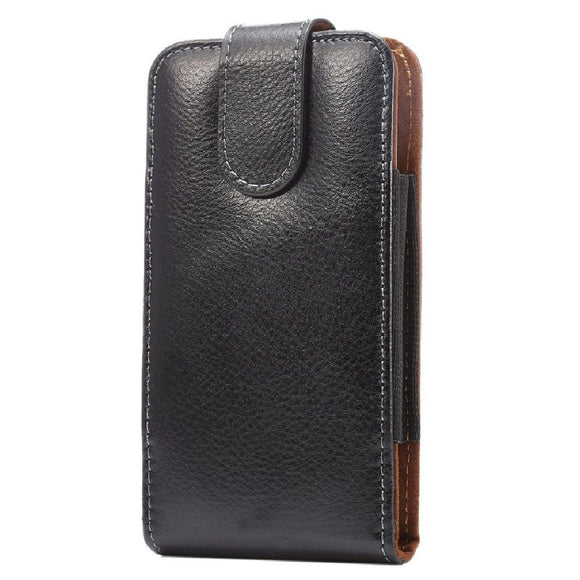Magnetic Genuine Leather Holster Executive Case belt Clip Rotary 360 for HTC Wildfire E1 Plus (2019) - Black