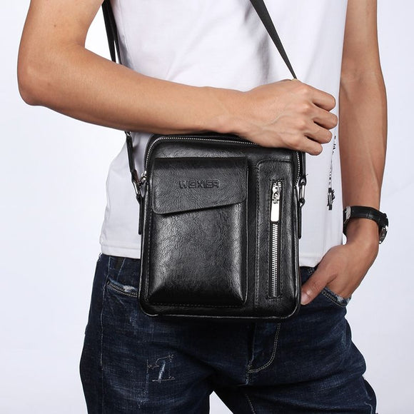 Bag Leather Waist Shoulder bag compatible with Ebook, Tablet and for LG K61 (2020) - Black
