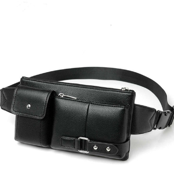 Bag Fanny Pack Leather Waist Shoulder bag Ebook, Tablet and for REALME NARZO 10A (2020) - Black