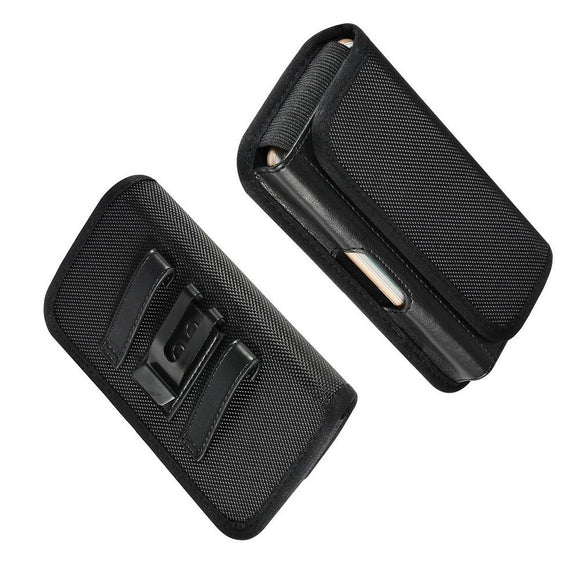 Horizontal Metal Belt Clip Holster with Card Holder in Textile and Leather for Samsung Galaxy A10e (2020) - Black