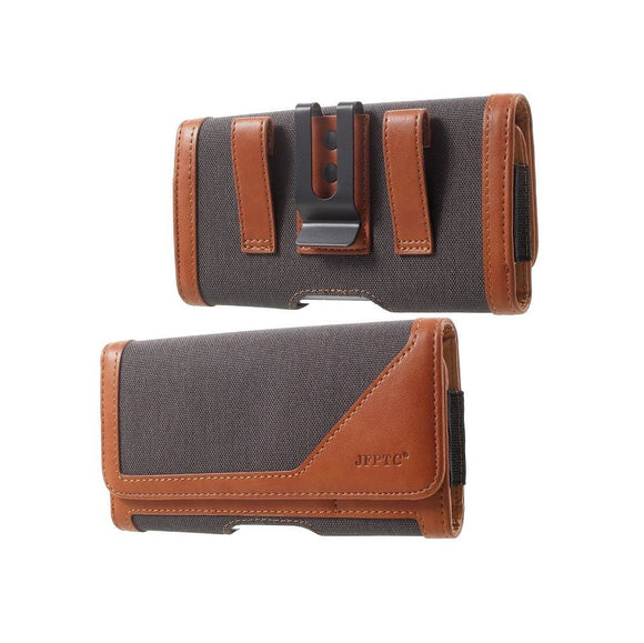 Case Metal Belt Clip Horizontal New Design Textile and Leather for Motorola Moto G8 (2020) - Gray/Brown