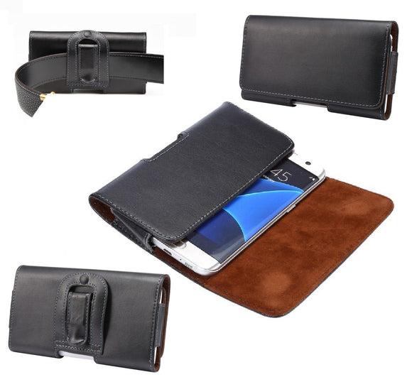 Case Belt Clip Genuine Leather Horizontal Premium for SHARP AQUOS SENSE3 (2019) - Black