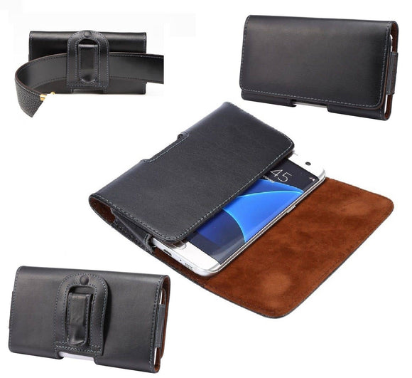 Genuine Leather Case Belt Clip Horizontal for BLU C6L (2020)