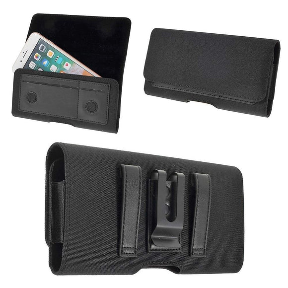 New Design Case Metal Belt Clip Horizontal Textile and Leather for Motorola Moto G8 (2020) - Black