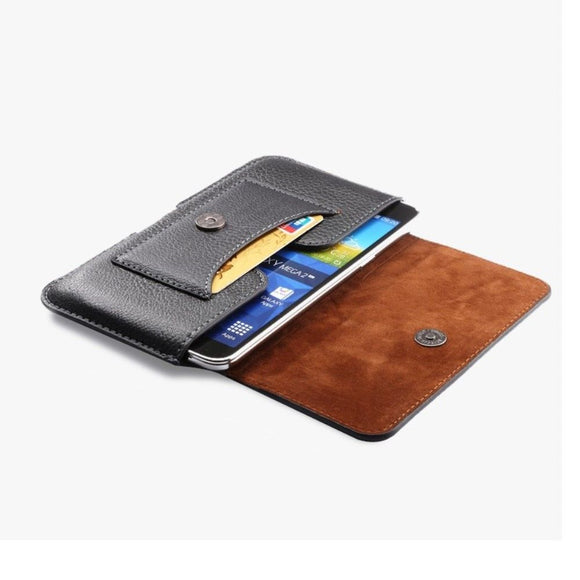 New Design Leather Horizontal Belt Case with Card Holder for LG W10 Alpha (2020) - Black