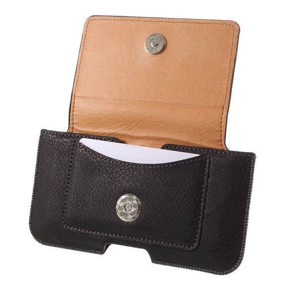 Leather Horizontal Belt Clip Case with Card Holder for Microsoft Nokia 216 - Black