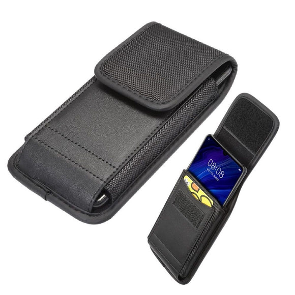 Belt Case Cover Vertical with Card Holder Leather & Nylon for ZTE Blade 10 (2019) - Black
