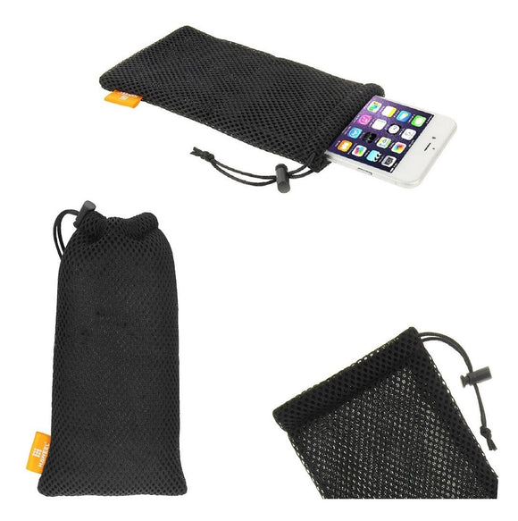 Universal Nylon Mesh Pouch Bag with Chain and Loop Closure compatible with LG V60 ThinQ 5G (2020) - Black
