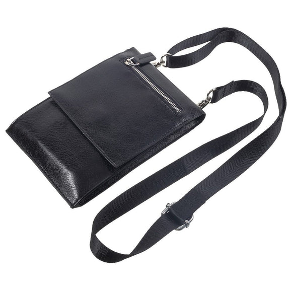 Case Pocket Shoulder Bag with Lanyard for Tablet and Smartphone with Magnetic Closure and Zippers for Meizu 16T (2019) - Black