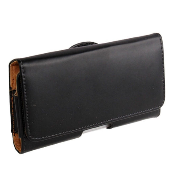 Case belt clip synthetic leather horizontal smooth for Vivo V19 (2020) - Black