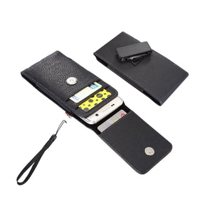 Magnetic leather Holster Card Holder Case belt Clip Rotary 360 for LG W10 Alpha (2020) - Black