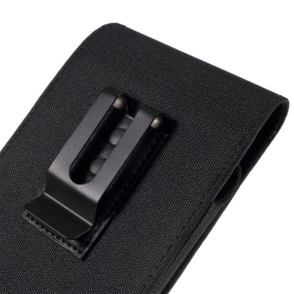 New Design Case Metal Belt Clip Vertical Textile and Leather for LG W10 Alpha (2020) - Black