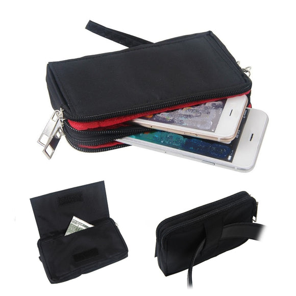 Multipurpose Horizontal Belt Case with Zip Closure and Hand Strap for Sharp Aquos Sense3 basic (2020)