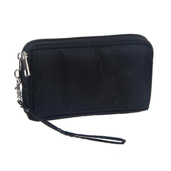 Multipurpose Horizontal Belt Case with Zip Closure and Hand Strap for LG W10 Alpha (2020) - Black (15.5 x 8.5 x 2 cm)
