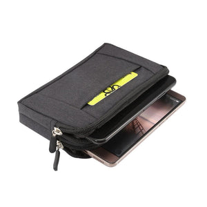 Multipurpose Horizontal Belt Case 2 Compartments Zipper for VIVO Y20S (2020)