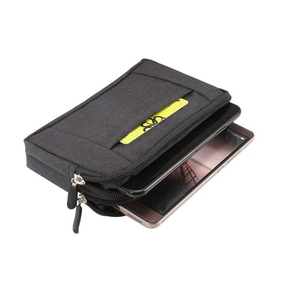 Multipurpose Horizontal Belt Case 2 Compartments Zipper for BBK Vivo X50  (2020)