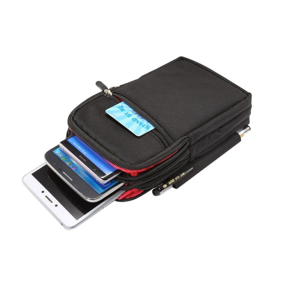 Multi-functional Vertical Stripes Pouch 4 Bag Case Zipper Closing for OPPO ACE2 (2020) - XXL Black (19 x 11.5 cm)